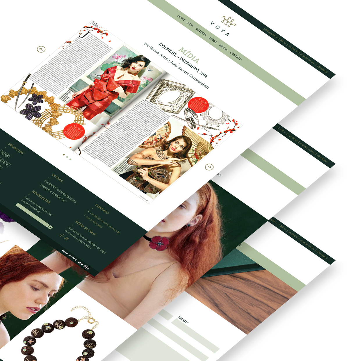 Photo montage showing three different website pages, layered on top of each other. The website has a white background, a dark green top menu and footer and some details in light green and dark yellow.